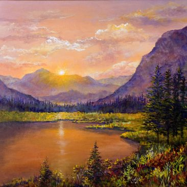 Rocky-Mountain-Sunset-18x24-Framed-Canvas-$450